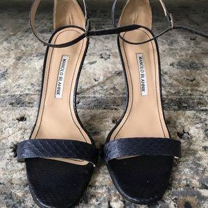 Manolo Blahnik Snakeskin Ankle-Strap Heel Sandal